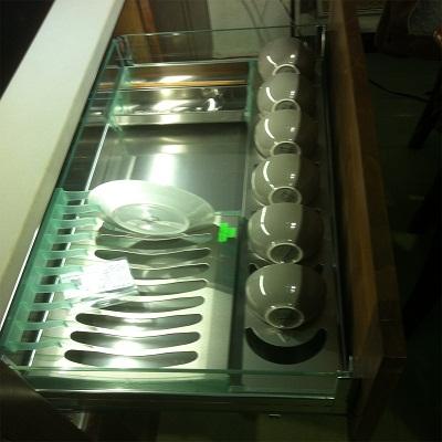 Giá bát đĩa inox hộp vách kính Cariny CK-26B/600