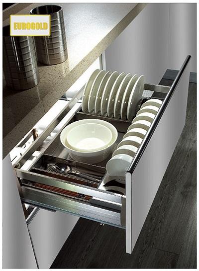 Kệ úp bát đĩa tủ dưới Inox hộp gắn cánh Eurogold EU